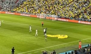 Відео дня. Парашутист приземлився на поле під час матчу Євро-2020