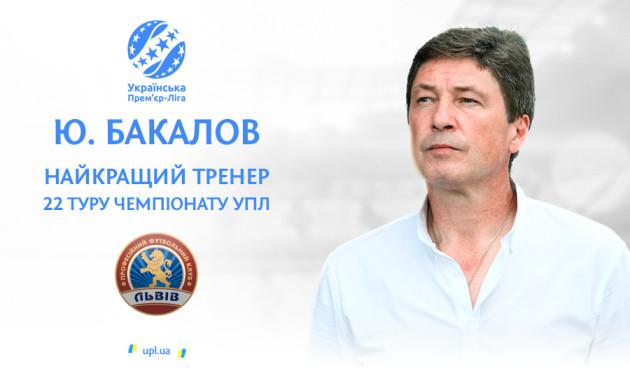 Бакалов визнаний найкращим тренером 22-го туру УПЛ