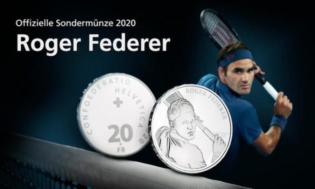 У Швейцарії випустили унікальну монету на честь Федерера